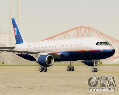 Airbus A320-232 United Airlines (Old Livery) pour GTA San Andreas laissé vue