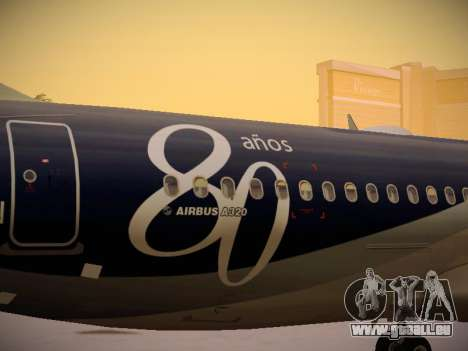 Airbus A320-214 LAN Airlines 80 Years für GTA San Andreas obere Ansicht