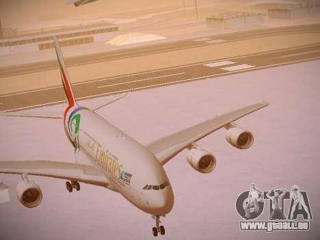 Airbus A380-800 Emirates Rugby World Cup für GTA San Andreas Unteransicht