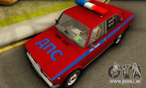 VAZ 2107 Polizei für GTA San Andreas Rückansicht