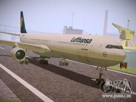 Airbus A340-600 Lufthansa für GTA San Andreas zurück linke Ansicht