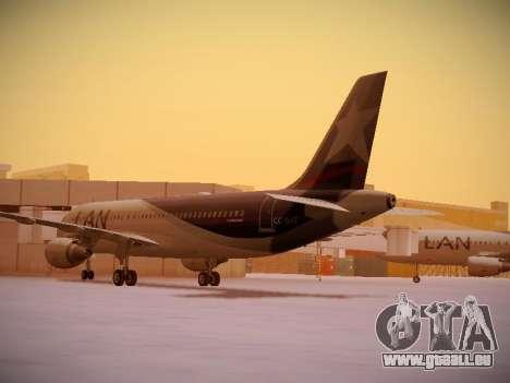Airbus A320-214 LAN Airlines pour GTA San Andreas sur la vue arrière gauche