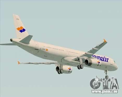 Airbus A321-231 Spanair für GTA San Andreas Rückansicht
