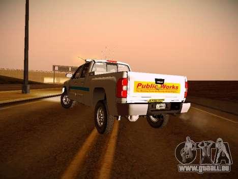 Chevrolet Silverado 2500HD Public Works Truck pour GTA San Andreas vue intérieure