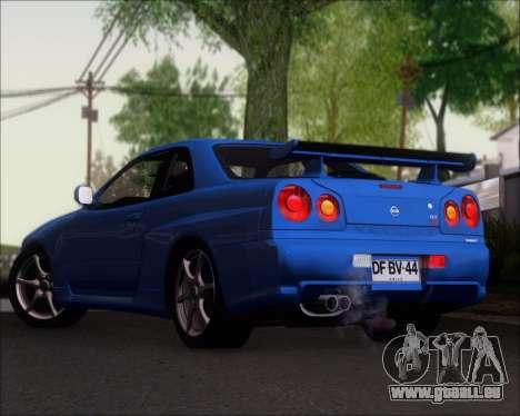 Nissan Skyline GT-R R34 V-Spec II für GTA San Andreas zurück linke Ansicht