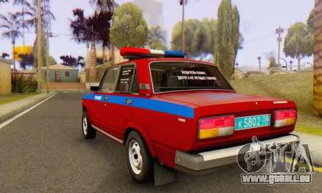 VAZ 2107 Police pour GTA San Andreas sur la vue arrière gauche