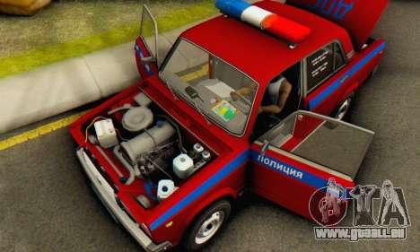 VAZ 2107 Police pour GTA San Andreas vue intérieure