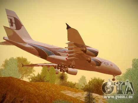 Airbus A380-800 Malaysia Airlines pour GTA San Andreas vue arrière