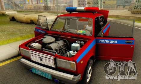VAZ 2107 Police pour GTA San Andreas vue de côté