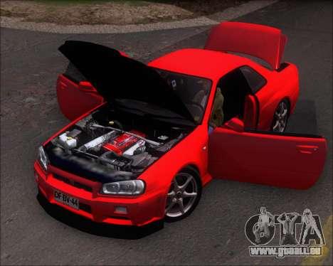 Nissan Skyline GT-R R34 V-Spec II für GTA San Andreas Rückansicht
