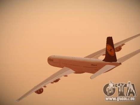 Airbus A340-600 Lufthansa für GTA San Andreas Unteransicht