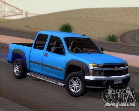 Chevrolet Colorado pour GTA San Andreas sur la vue arrière gauche