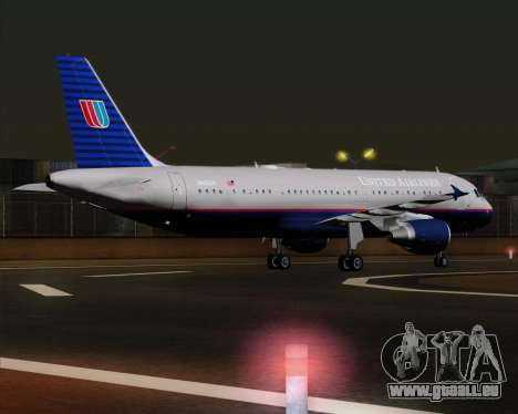 Airbus A320-232 United Airlines (Old Livery) pour GTA San Andreas vue de droite