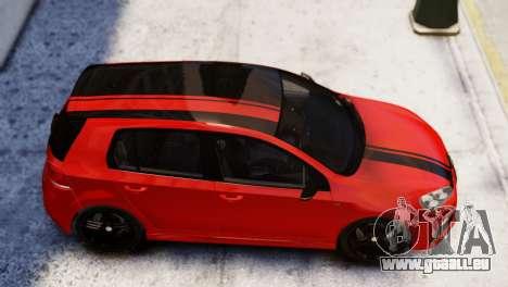 Volkswagen Golf R 2010 Racing Stripes Paintjob für GTA 4 hinten links Ansicht