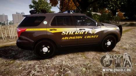 Ford Explorer 2013 Sheriff [ELS] Virginia pour GTA 4 est une gauche