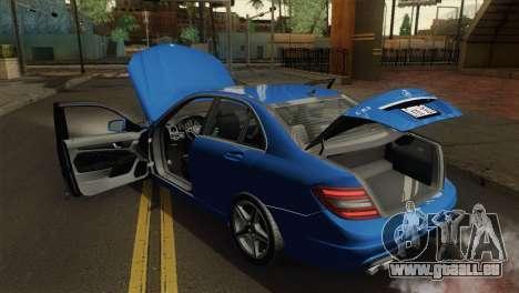 Mercedes-Benz C63 AMG Sedan 2012 pour GTA San Andreas vue arrière