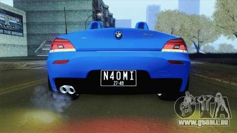 BMW Z4 sDrive28i 2012 Stock pour GTA San Andreas vue arrière