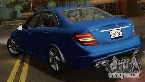 Mercedes-Benz C63 AMG Sedan 2012 für GTA San Andreas Seitenansicht