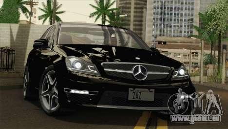 Mercedes-Benz C63 AMG Sedan 2012 pour GTA San Andreas vue de dessus