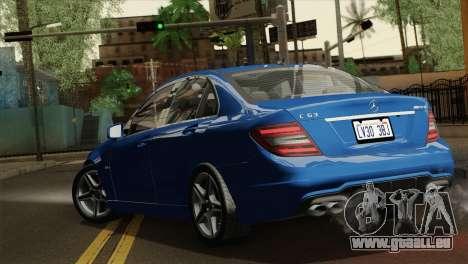 Mercedes-Benz C63 AMG Sedan 2012 pour GTA San Andreas laissé vue
