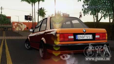 BMW M3 E30 Coupe 1987 pour GTA San Andreas laissé vue