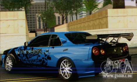 Nissan Skyline R-34 pour GTA San Andreas laissé vue