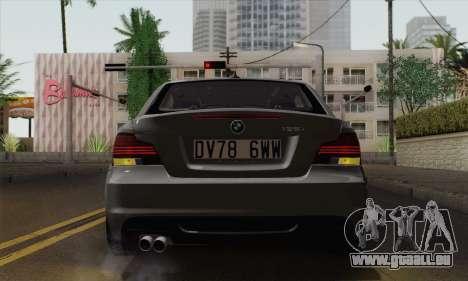 BMW 135i 2009 pour GTA San Andreas vue arrière