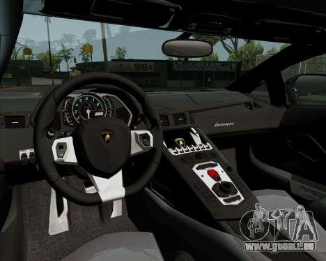 Lamborghini Aventador pour GTA San Andreas vue intérieure