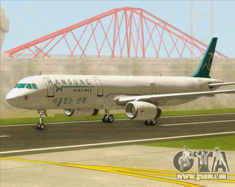 Airbus A321-200 Hansung Airlines für GTA San Andreas zurück linke Ansicht