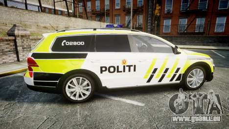 Volkswagen Passat 2014 Marked Norwegian Police für GTA 4 linke Ansicht