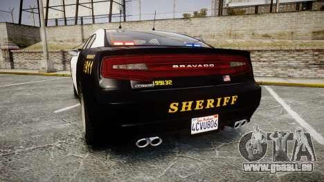 GTA V Bravado Buffalo LS Sheriff Black [ELS] Sli für GTA 4 hinten links Ansicht