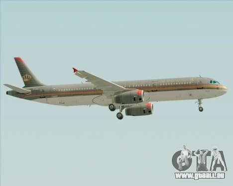 Airbus A321-200 Royal Jordanian Airlines für GTA San Andreas obere Ansicht