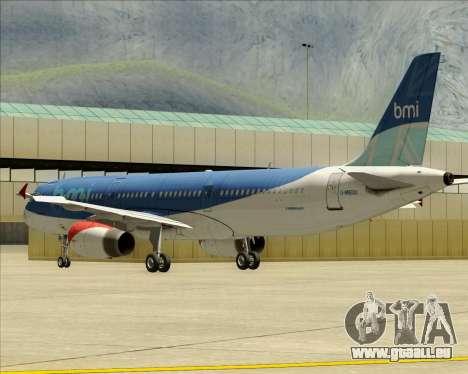 Airbus A321-200 British Midland International pour GTA San Andreas vue de dessous