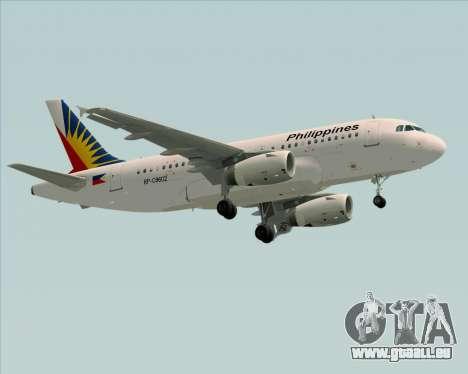 Airbus A319-112 Philippine Airlines für GTA San Andreas zurück linke Ansicht