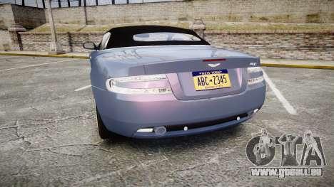 Aston Martin DB9 Volante 2005 VK Edition pour GTA 4 Vue arrière de la gauche