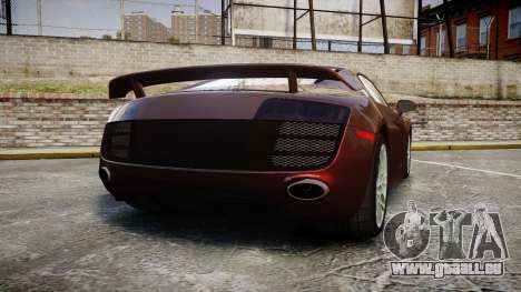 Audi R8 2010 Rotiform BLQ pour GTA 4 Vue arrière de la gauche