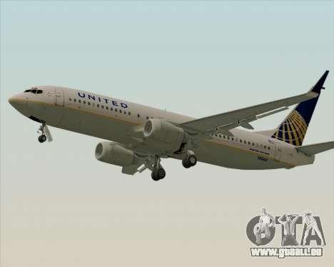 Boeing 737-824 United Airlines für GTA San Andreas zurück linke Ansicht