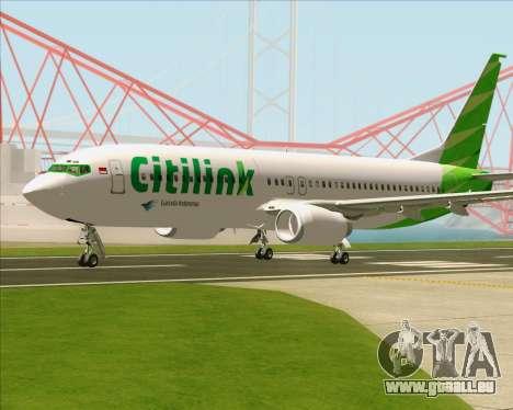 Boeing 737-800 Citilink pour GTA San Andreas vue arrière