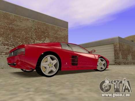 Ferrari 512TR pour GTA San Andreas sur la vue arrière gauche