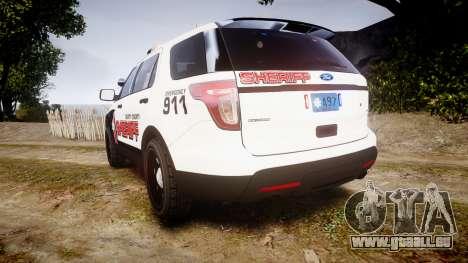 Ford Explorer 2013 LC Sheriff [ELS] pour GTA 4 Vue arrière de la gauche