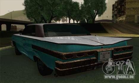 Declasse Voodoo pour GTA San Andreas sur la vue arrière gauche