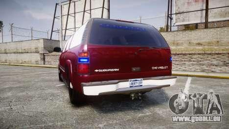 Chevrolet Suburban Undercover 2003 Black Rims pour GTA 4 Vue arrière de la gauche