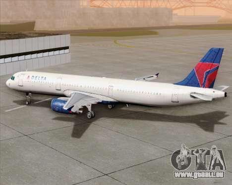 Airbus A321-200 Delta Air Lines für GTA San Andreas obere Ansicht