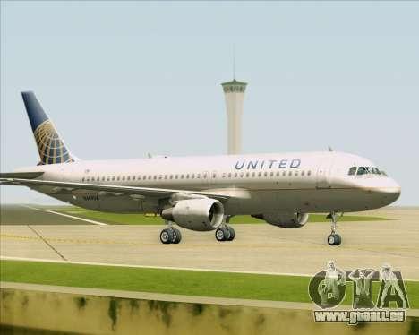 Airbus A320-232 United Airlines für GTA San Andreas zurück linke Ansicht