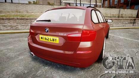 BMW 530d F11 pour GTA 4 Vue arrière de la gauche