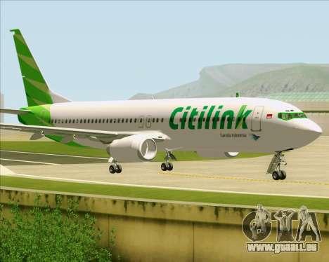 Boeing 737-800 Citilink pour GTA San Andreas sur la vue arrière gauche
