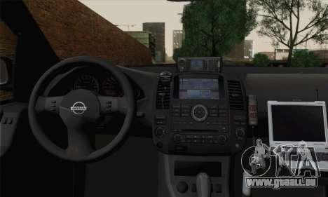 Nissan Pathfinder Policija für GTA San Andreas zurück linke Ansicht