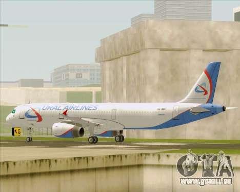 Airbus A321-200 Ural Airlines pour GTA San Andreas sur la vue arrière gauche