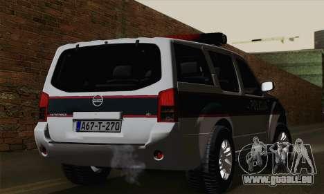 Nissan Pathfinder Policija pour GTA San Andreas laissé vue