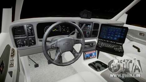 Chevrolet Suburban Undercover 2003 Black Rims für GTA 4 Rückansicht